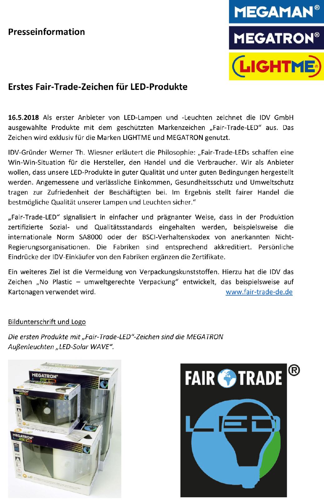 2018-05 Presseinfo zum Start von Fair-Trade-LED